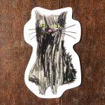 【こどものアート】型抜きハガキ『black cat』