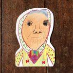 【こどものアート】型抜きハガキ『おばあさん』
